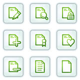 Document web icons set 2, white square buttons Stock Photos