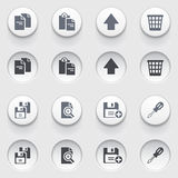 Document web icons on white buttons. Set 2. Royalty Free Stock Images