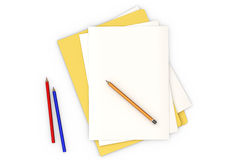 Document on White. Blank document with yellow folder isolated over a white background royalty free illustration