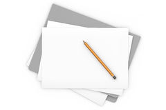 Document on White. Blank document on a gray folder isolated over a white background vector illustration