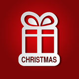 Document witte Kerstmisgift met boog - lint, rode achtergrond - EPS 10 Royalty-vrije Stock Foto