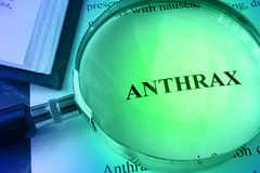 Document with word Anthrax. Stock Images