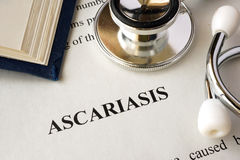 Document with word Ascariasis. stock photo