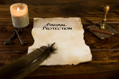 Document with the words animal protection Stock Image