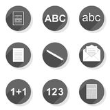 Document write count flat modern icon set. Document write count collect send round gray flat modern icon set isolated on white background Royalty Free Stock Photography