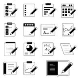 Document, writing icons. Collection of 16 document, writing icons Stock Photos