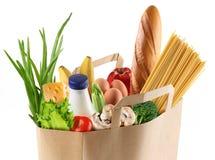 Document zak met voedsel. Royalty-vrije Stock Afbeeldingen