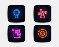Documentação, mensagens da conversação e ícones técnicos da recompensa Sinal aprovado Vetor ilustração stock