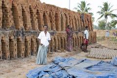 Documentary editorial  hand made bricks in India Stock Photos