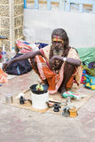 Documentary editorial image,Poverty in the street India. Documentary editorial image. Pondicherry, Tamil Nadu, India - June 25 2014. Very poor man and woman Stock Photos