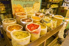 Documentary editorial image. Traditional colorful pasta and dry fruits in local bazaar in India. royalty free stock images