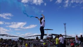 Documentary Editorial Image.  Ulyanovsk/Russia  -  08/15/2015.  Holiday - Day of Civil Aviation. stock video footage