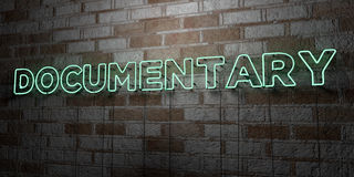 DOCUMENTARY - Glowing Neon Sign on stonework wall - 3D rendered royalty free stock illustration Stock Photo