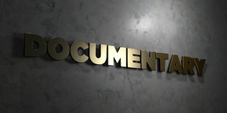 Documentary - Gold text on black background - 3D rendered royalty free stock picture Royalty Free Stock Photos