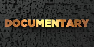 Documentary - Gold text on black background - 3D rendered royalty free stock picture Stock Photos
