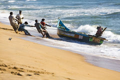 Documentary images : Fishermen at Pondichery, India Stock Images