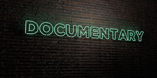 DOCUMENTARY -Realistic Neon Sign on Brick Wall background - 3D rendered royalty free stock image Royalty Free Stock Image