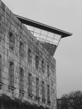 The Documentation center towering over the former Nazi Party congress building. Nuremberg, Germany - 2015, April 2: The Documentation center opened 2001 towering Royalty Free Stock Photos