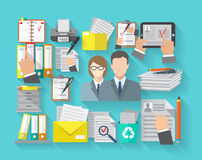 Documentation Concept Flat. Documentation concept with office workers and archive organizing flat icons set vector illustration vector illustration