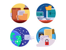 Documentation and document management set icon Stock Photography