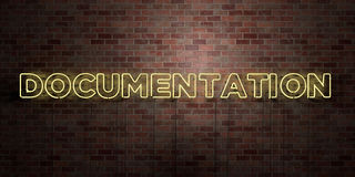 DOCUMENTATION - fluorescent Neon tube Sign on brickwork - Front view - 3D rendered royalty free stock picture Royalty Free Stock Images