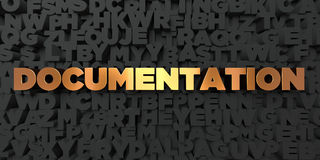 Documentation - Gold text on black background - 3D rendered royalty free stock picture Royalty Free Stock Image