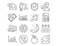 Documentation, Musical note and Algorithm icons. Graph, Infographic graph and Open mail signs. Vector. Set of Documentation, Musical note and Algorithm icons stock illustration