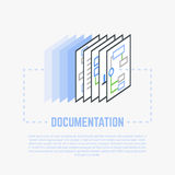 Documentation process line illustration. Documentation, copying process. Financial papers, infographics, a4 paper format. Flat style line modern vector Stock Photography