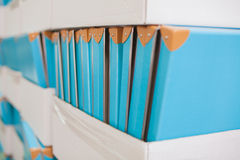 Documentation stand with boxes Royalty Free Stock Photos
