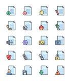 Documente & arquive ícones, grupo de cor - Vector a ilustração Fotografia de Stock Royalty Free
