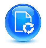 Documente el botón redondo azul ciánico vidrioso del icono de proceso stock de ilustración