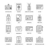 Documente la ligne plate icônes de vecteur d'identité Cartes d'identification, passeport, accès de presse, passage d'étudiant, vi illustration de vecteur