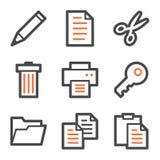 Documente las series de los iconos del Web, anaranjadas y grises del contorno Foto de archivo