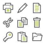 Documente las series de los iconos del Web, verdes y grises del contorno Imagen de archivo