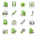 Documente los iconos del Web, fije 2. serie gris y verde. Fotos de archivo