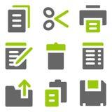Documente los iconos del Web, iconos sólidos grises verdes Fotografía de archivo libre de regalías