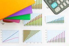 Documenten grafieken van succesvolle zaken Stock Afbeelding