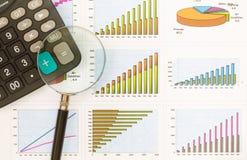 Documenten grafieken van succesvolle zaken Stock Foto's