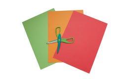 Documenti Colourful con le forbici aperte Fotografia Stock Libera da Diritti