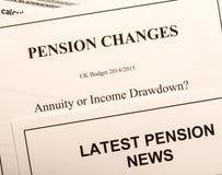 Documenti del cambiamento di pensione fotografia stock libera da diritti