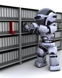 Documenti dell'archivario del robot Fotografie Stock