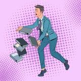 Documenti di Art Careless Businessman Dropping Folder di schiocco Impiegato di concetto con gli archivi cartacei illustrazione di stock
