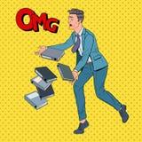 Documenti di Art Careless Businessman Dropping Folder di schiocco Impiegato di concetto con gli archivi cartacei royalty illustrazione gratis