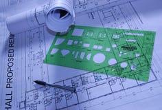 Documenti di costruzione di disegno Fotografie Stock Libere da Diritti