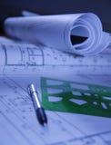 Documenti di disegno per l'architetto arredatore Immagine Stock Libera da Diritti