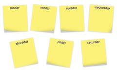Documenti di nota con i giorni della settimana Fotografie Stock