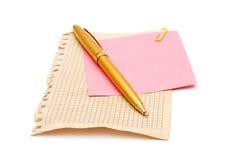 Documenti di nota e della penna Fotografia Stock