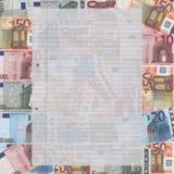Documento A4 sobre euros Imagen de archivo libre de regalías