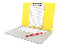 Documento alineado tablero en blanco sobre el ordenador portátil Vista lateral 3d rinden Fotografía de archivo