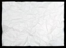Documento arrugado blanco sobre negro Imagen de archivo